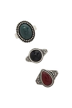 Etched Faux Stone Ring Set - Jewellery - 1000171110 - Forever 21 EU English