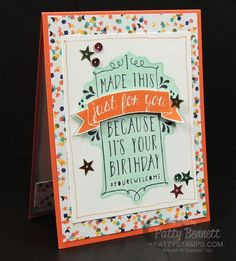 Balloon Bash birthday card - Stampin' Up! Birthday Bash paper and In Color Sequins complete the card