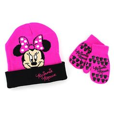 9a7c6abd855 Amazon.com  Minnie Mouse Toddler Knit Hat with Mittens Set (Magenta)   Clothing