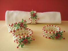 Items similar to Hand Beaded Napkin Rings set of 4 Christmas Table on Etsy Christmas Napkin Rings, Christmas Napkins, Christmas Deco, Xmas, Beading Tutorials, Beading Patterns, Diy Rings Tutorial, Beaded Napkin Rings, Bead Jewellery
