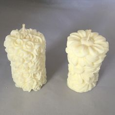These gorgeous votive candles are intricately detailed with 2 different floral designs. They are made with soy candle wax, so they burn cleanly. Soy wax is much