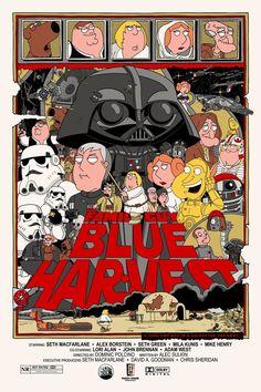 Artist Jacob Bills created a set of Family Guy Star Wars trilogy poster art. Over the years Family Guy has hilariously parodied the Star Wars films in three specials titled Blue Harvest, Something Something Something Dark Side , and It's a Kaisoo, Luhan, Art Harry Potter, Alice In Wonderland Illustrations, Blue Harvest, Fan Poster, Art Manga, Star Wars Film, Star Trek