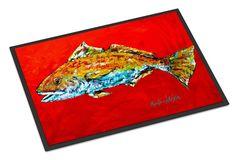 Fish - Red Fish Red Head Indoor or Outdoor Mat 18x27 Doormat