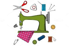 Flat sewing icons and machine. Sewing Icons. $6.00