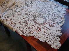 Vintage White Tape Lace Tablecloth / Monogrammed Tape Lace Tablecloth /  White Batterburg Lace Tablecloth / White Battenburg / Table Linen |  Accessories Shop ...