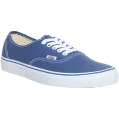 Vans Authentic ($70) ❤ liked on Polyvore featuring shoes, sneakers, vans, sapatos, trainers, navy, unisex sports, lace up sneakers, skate shoes and vans trainers