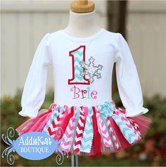 Personalized Winter ONEderland Birthday Sparkle Snowflake Fabric Tutu Outfit - Chevron