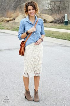 Crocheted Skirt and Chambray