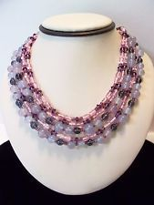 Miriam Haskell Purple Pink Necklace Glass Bead Brass Vintage Triple Strand