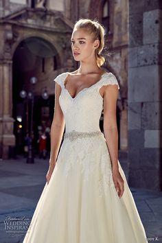 eddy k milano bridal 2017 cap sleeves v neck heavily embellished bodice embellished hem jeweled belt pretty romantic a  line wedding dress open back chapel train (md221) zv