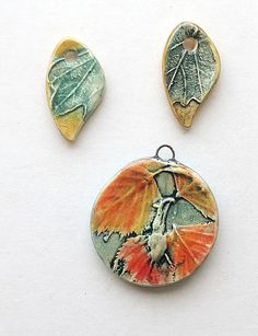 Birch Leaf Pendant and 2 Leaf Charms by Mary Harding.