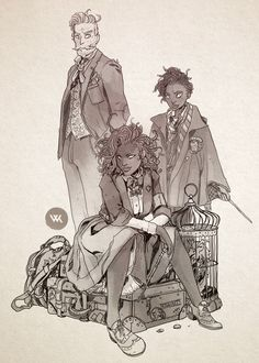 "chamonkee: ""A quick sketch of the Granger-Weasley family. "" Soooo awesome!"