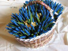 papierowa wiklina bibułkowe kwiaty paper basket, crepe paper flowers