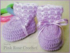 Delicadezas en crochet Gabriela: Conjunto de bebè : Patucos y gorra paso a paso con...