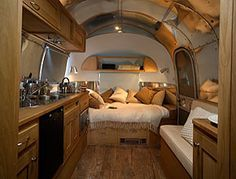 Glamping = Glamorous Camping bed in airstream Airstream Campers, Airstream Remodel, Airstream Renovation, Airstream Interior, Vintage Airstream, Vintage Travel Trailers, Remodeled Campers, Camper Trailers, Vintage Campers