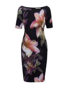 Aansluitende jurk met flower print Zwart