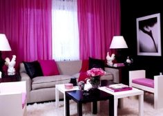 design ideas hotpink livingroom black white hot pink pink living