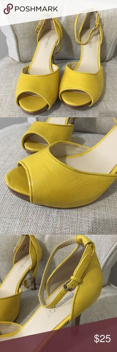 Yellow open toe Heels Yellow open toe with brown heels. Gently worn, a few scuffs. Shoes Heels