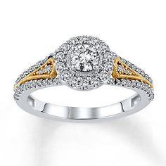 Yellow gold, white gold and dazzling diamonds shine in this elegant two-tone engagement ring. Two Tone Engagement Rings, Pretty Engagement Rings, Wedding Engagement, Wedding Rings, Love Ring, Dream Ring, Kay Jewelers, Jewelry Trends, Diamond Rings