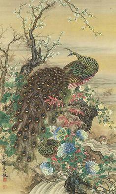 stilllifequickheart:Oguchi Unkin (Japanese, 1836-79) ~Peafowl, Tree, Flowers