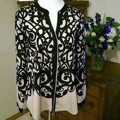 """Wow Factor Beige button down with black lattice pattern. 4 button cuffs and hidden buttons down front. 28"""" in length, 100% poly, perfect condition, dress up or down. New York & Company Tops"""