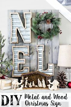 DIY Metal and Wood Christmas Sign tutorial | blesserhouse.com #christmasdecor #diy