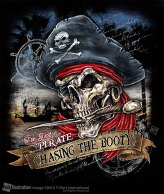 Pirate skull - chasing the booty Pirate Art, Pirate Woman, Pirate Life, Pirate Ships, Pirate Flags, Pirate Crafts, Skull Motorcycle, Pirate Pictures, Pirate Tattoo