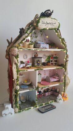 Fairy Village, Fairy Tree, Fairy Garden Houses, Diy Fairy House, Fairy Houses Kids, Fairy Lanterns, Fairy Lights, Fall Garland, Block Craft