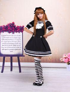 Cotton Black Sailor Cotton School Lolita Dress