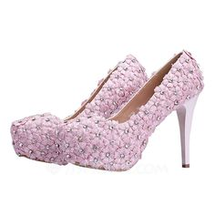 [US$ 40.99] Women's Real Leather Stiletto Heel Closed Toe Pumps With Flower (047066634)