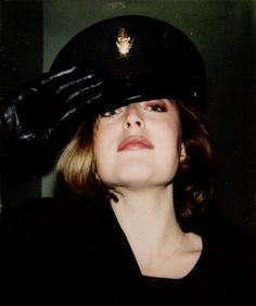 Gillian Anderson on the set of The X-Files