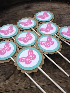 Pink Butterfly Cupcake/ Treat Toppers Set by PurpleZebraPaperCo, $12.00