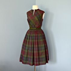 Vintage 1960s Dress...Darling 1960's COUNTRY SET Plaid Two Piece Day Dress Mad Men. $115.00, via Etsy.