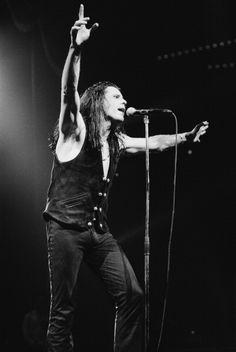 Singer Ian Astbury of English rock group The Cult performing in Houston Texas 1992