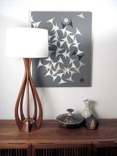 MidCentury Danish Modern Walnut Biomorphic Lamp