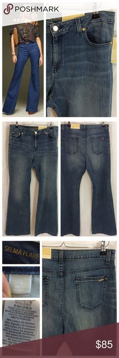 """Michael Kors Selma Flare Jeans Gorgeous trend-on flare jeans by MICHAEL Michael Kors. Light-medium wash with factory fading and whiskering. High rise cut, slim hip and thigh, flare leg opening. Regular inseam, long design. Durable cotton with 2% spandex for comfort and movement. Size 12; 16.5"""" waist and 33.5"""" inseam. Excellent NWT condition. MICHAEL Michael Kors Jeans Flare & Wide Leg"""