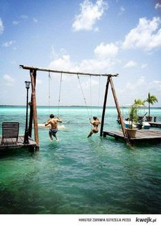 I don't know where this is, but it looks like FUN!   Found out the water swings are at the Los Aluxes Hotel and Restaurant in Bacalar, Quintana Roo, Mexico