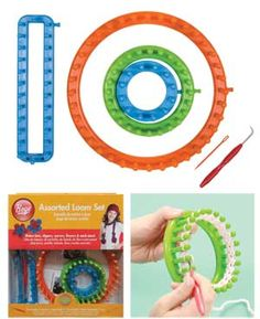 Assorted Knitting Looms Set — You can make hats, slippers, scarves and more, using worsted to bulky weight yarns, all without knitting needles.  Knitting looms allow you to knit flat, double, circular, and make flower motifs.