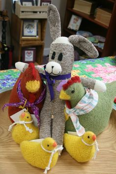 Sock bunny Honey made by Deb Clark welcomes the felted chicks just delivered by Helen Morgan!