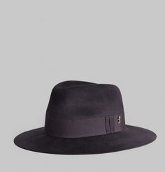 Chapeau de type fedora, en feutre de lapin anthracite, ruban ton sur ton, petit…