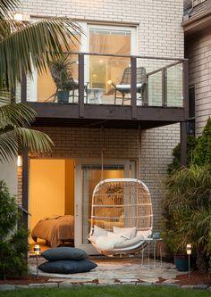 San Francisco Interior Design company Regan Baker Design - Diamond Heights Mid-Century Modern Exterior, Hanging Chair