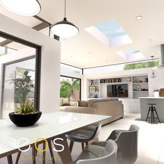 Utilising glass in your new extension can add a light airy feel. A combination of glazed doors and roof windows are a popular method for adding natural light as shown in this Dulwich extension. #rooflightideas #kitchenideas #extensionideas #eosrooflights