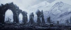 A lone adventurer is passing by old ruins from the Age of evil at the foot of the west Giants mountains.