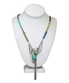 Bungalow 20 silver bohemian bird necklace with beads