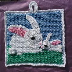 Ravelry: Mummy Bunny and baby potholder pattern by Di Greenall