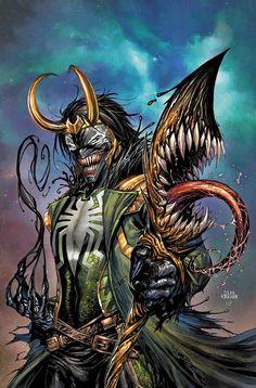 Loki Simbiote:AVENGERS 11 by Tyler Kirkham The Venom Site: september 2017 venomized variants Loki Marvel, Marvel Venom, Marvel Villains, Marvel Comic Universe, Comics Universe, Marvel Heroes, Thor, Mysterio Marvel, Venom Spiderman