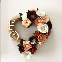 Inital Wreath, Monogram Wreath, Felt Wreath, Custom Wreath,Heart Wreath, Personalized Wreath by juliettesdesigntr on Etsy https://www.etsy.com/listing/598647396/inital-wreath-monogram-wreath-felt