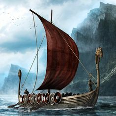 Illustration of two viking longboats. The ships have been modeled in Blender 3D and painted over in Photoshop. The rest is hand painted with the use of some textures.