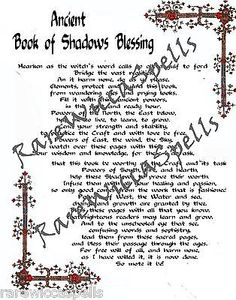 Ancient BOS Blessing Wicca Book of Shadows Parchment pg Pagan Occult Spells