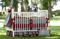 Crib Set - Crimson and Houndstooth. $399.00, via Etsy.